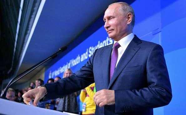 Preside Vladimir Putin inauguración del Festival Mundial de la Juventud